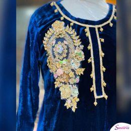 Blue Embroidered Velvet Kurti Design 2021 in Pakistan