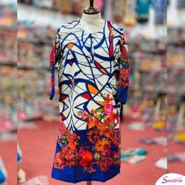 Blue and White khaddar Kurti Latest Design 2021 in Pakistan Sanwarna.pk