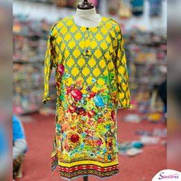 Yellow Khaddar Kurti Design 2021 in Pakistan sanwarna pk