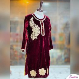 stitched velvet Kurties with hand embroidered sanwarna.pk