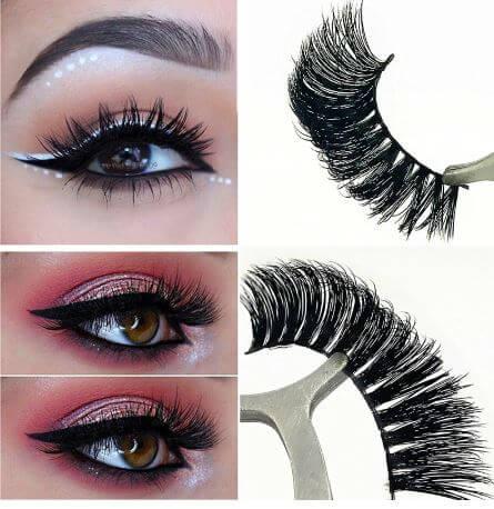 3D Mink Eyelashes Full Strip Thick Long-cross Sanwarna.pk