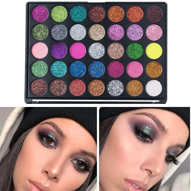 35 color glitter shimmer eyeshadow sanwarna.pk
