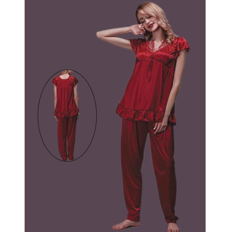 ladies silk pajamas set nightdress
