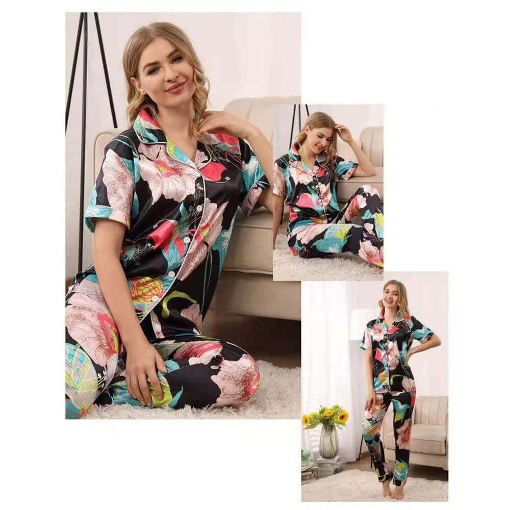 floral print satin night suit sanwarna.pk